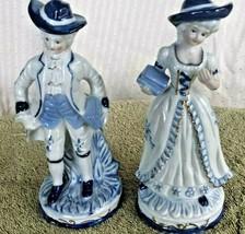 """Vintage ~ Porcelain 7.5"""" Figurines Couple Set COBALT BLUE Gold Gentleman... - $29.69"""