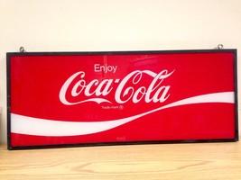 """Vintage 34"""" x 14"""" Enjoy COCA COLA COKE Glass Sign In Metal Frame - $215.00"""