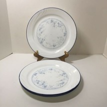 "4 Dinner Plates Celestial Blue Corelle 10.25"" Blue Floral Swirl Blue Rim  - $24.18"