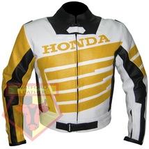 HONDA 9019 YELLOW MOTORBIKE ARMOURED COWHIDE LEATHER MOTORCYCLE BIKERS J... - $194.99