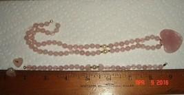 VTG 14k PINK ROSE QUARTZ PEARL HEART PENDANT NECKLACE BRACELET EARRING S... - $237.99