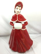Vintage Victorian Lady w/ Muff Ceramic Red 26366 Woman Large - $59.39