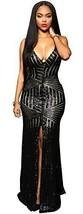 Kearia Women Short Sleeve Deep V-Neck Sequin Split Bodycon Cocktail Party Dress - $27.15