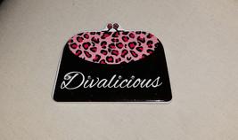 "Bling ""Divalicious"" Black & Pink Leopard Design Rhinestone Purse Magnet - $5.95"