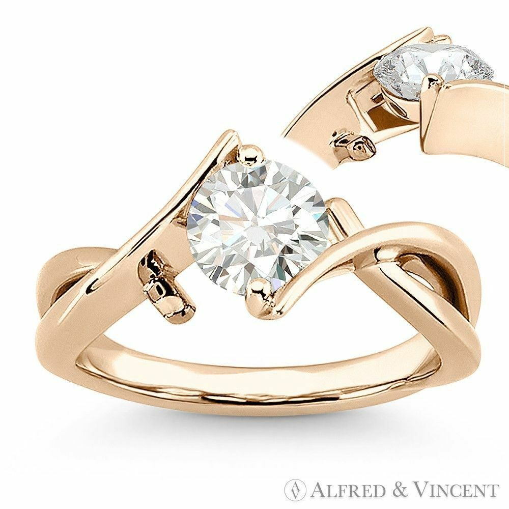 Primary image for Round Brilliant Cut Moissanite Fancy Solitaire Engagement Ring in  14k Rose Gold