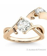 Round Brilliant Cut Moissanite Fancy Solitaire Engagement Ring in  14k R... - €483,56 EUR+