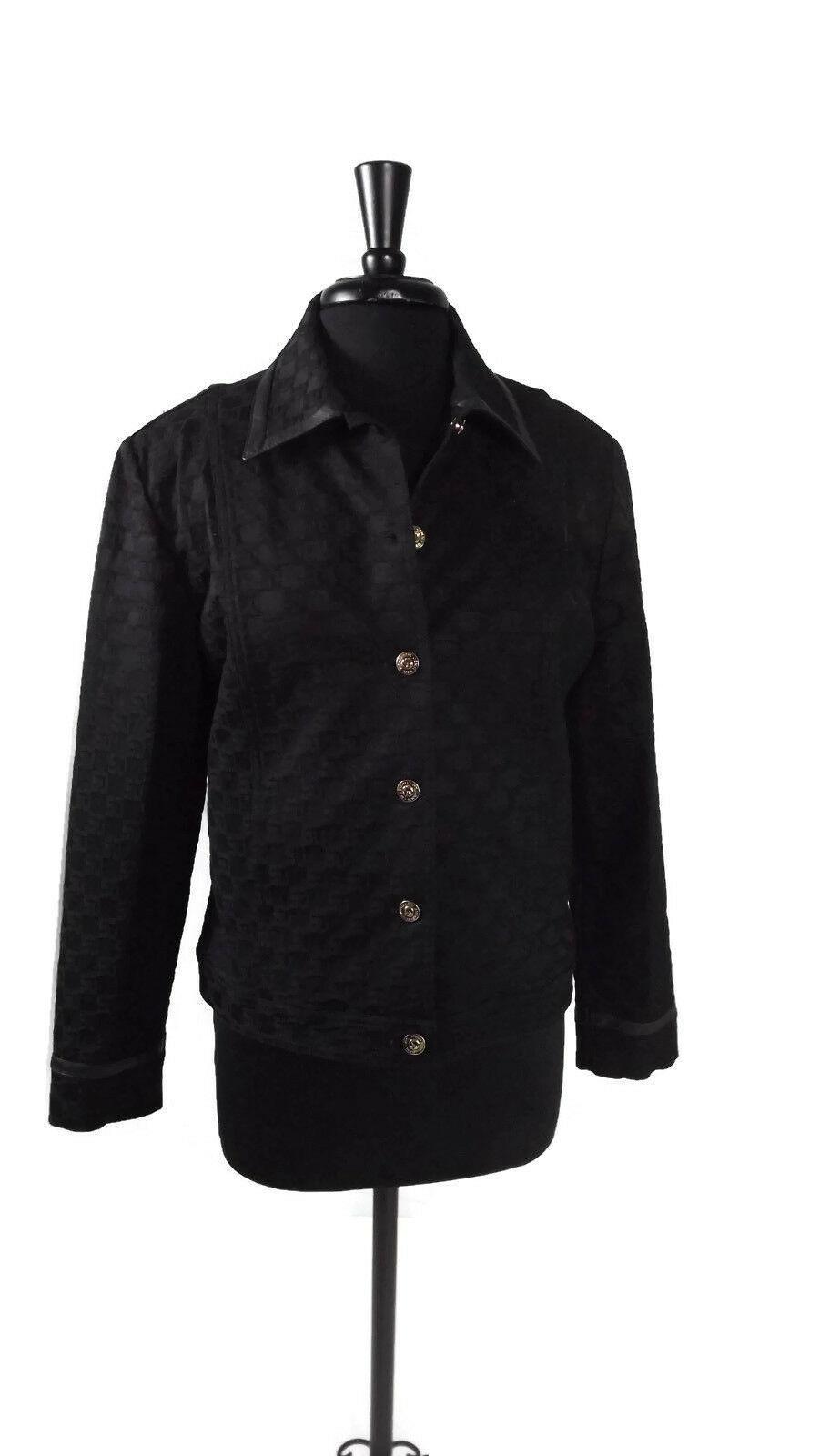 ST. JOHN Womens BLACK Sporty Sports Jacket Leather Trim SJ Buckles Size Medium M - $84.55