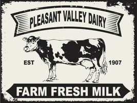 Pleasant Valley Farm Fresh Milk  Animal Dairy Country Rustic Nature Meta... - $19.95