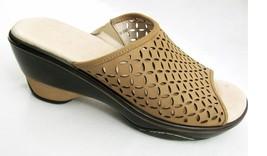 Jambu Nubuck Leather Ronnie Mule 9.5 Tan Brown Mesh Heel Sport Wedge Shoes   - $37.57