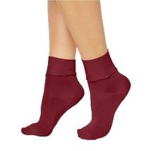 Hue Womens Ruffled Luster Socks Sangria - NWT - $1.89
