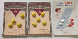 VINTAGE SEWING CRAFT BUTTONS LOT LE CHIC STILL ON CARDS YELLOW - $4.95