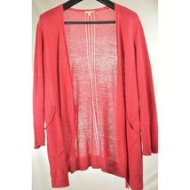 Eileen Fisher sweater cardigan SZ L soft red 100% linen knit pockets soft long s image 8