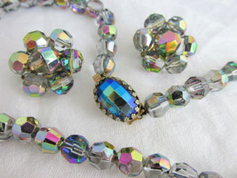 Vintage Austrian Fired Crystal Bead Necklace Clip Earrings Lavender-Peac... - $34.65