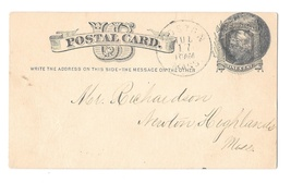 Sc UX5 1880s Boston Mass Negaive Numeral Postmark Cancel 8? 9? Postal Card - $4.99