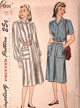Vintage 1940s Sewing Pattern Simplicity #1890 Dress Size 18 Bust 36 - $20.97