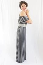 Charcoal Gray Striped Maxi Dress, Cold Shoulder Maxi, Gray Cold Shoulder Dress