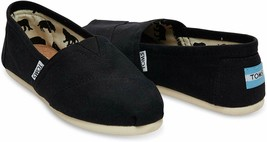 Neu Toms Damen Der Venezien Sammlung Klassisch Schwarz Leinen Schlupf Schuhe