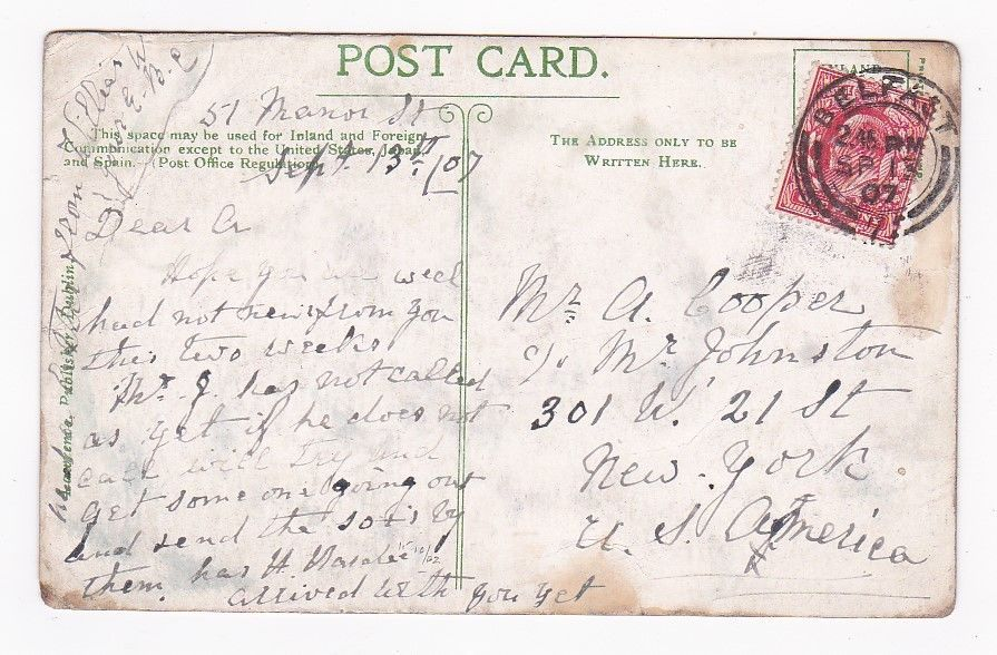 VINTAGE IRELAND ILLUSTRATED POSTCARD MAILED FROM BELFAST TO NEW YORK 1907