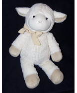 "PBK Pottery Barn Kids Lamb Sheep Plush Stuffed Animal White Tan Bow 17"" - $29.58"