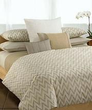 Calvin Klein IKAT Chevron Driftwood Taupe 4P Queen Duvet Shams Set - $252.15