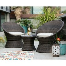 Wicker Patio Conversation Set 3 Piece Swivel Chairs Side Table Rattan Ou... - $408.86