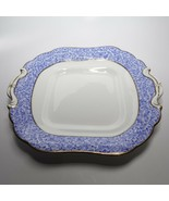 1870s Royal Worcester Blue Chintz Flowers Gold Trim Cake Plate - $88.83