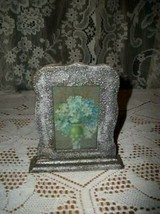 ANTIQUE SILVER PAPER MACHE PICTURE FRAME ORMOLU 1920's FORGET ME NOT PRINT - €30,80 EUR