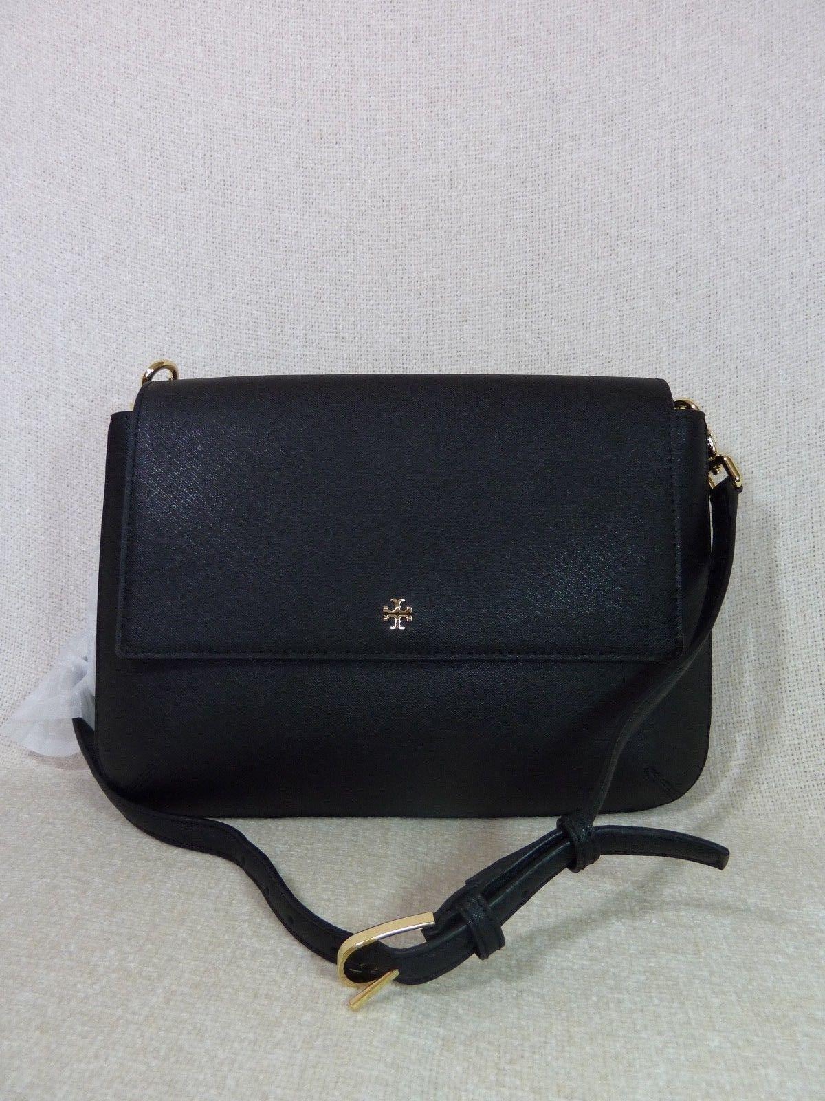 NWT Tory Burch Black Robinson Saffiano Combo Messenger Bag $450