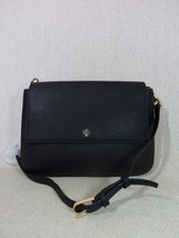 NWT Tory Burch Black Robinson Saffiano Combo Messenger Bag $450 - $314.82