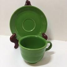 Coffee Tea Cup & Saucer Shamrock Green Homer Laughlin Fiesta Lead Free 5... - $9.74