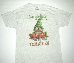 Large Shirt Gray I Love Gardening From My Head Tomatoes Garden Gnome T-S... - $19.26
