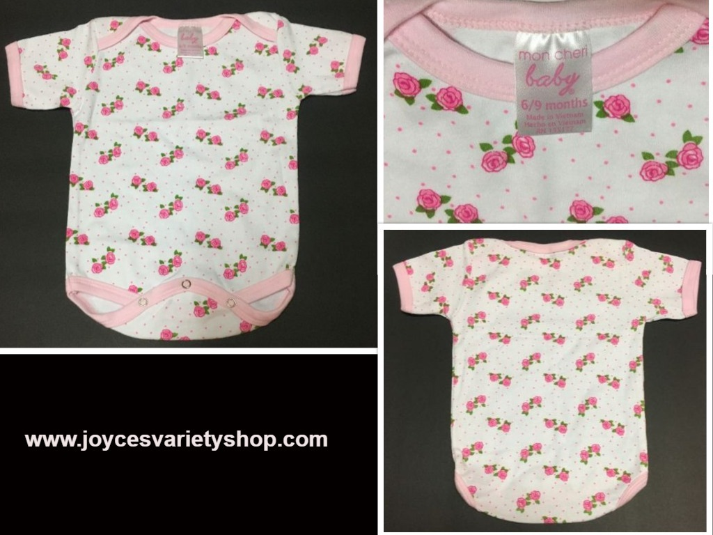 Primary image for Girl's Mon Cheri 1 Piece Infant Outfit 6/9 Months Roses