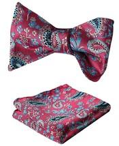 SetSense Men's Paisley Jacquard Woven Self Bow Tie Set One Size Pink / Blue - $27.00