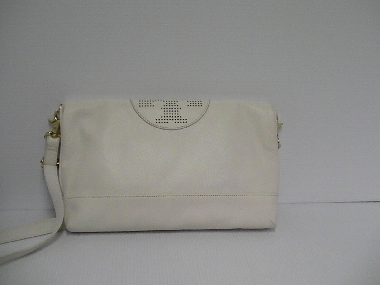 Primary image for Tory burch kipp foldover messenger cross body handbag large ivory