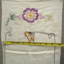 Tea Towel 38 In Kitchen Bathroom Crewel Embroidery Hand Stitch Floral Butterfly image 9
