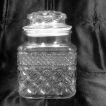 "Wexford Canister Apothecary Jar 58 oz 6.5"" Tall Anchor Hocking Glass Vintage - $11.99"