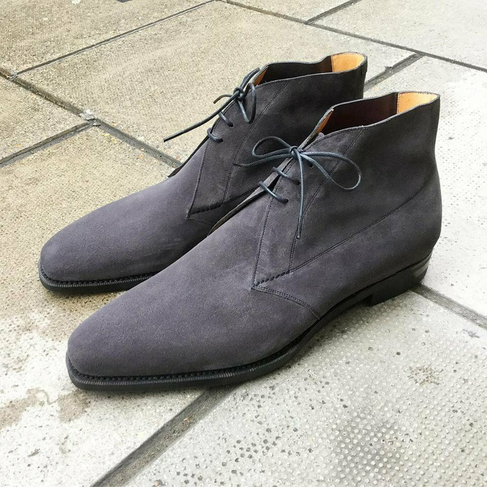 Handmade Men's Gray Suede High Ankle Lace Up Chukka Boots