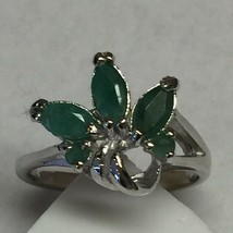 Natural 2ct Emerald 925 Solid Sterling Silver Cluster Ring 6.75 - $39.59