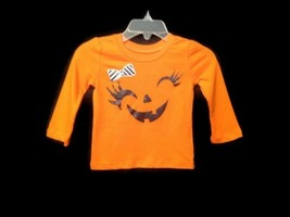 Children's Place Girls 6-9 Months Smiling Pumpkin Shirt Halloween Orange... - $6.98