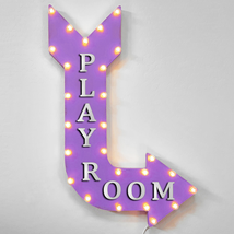 "36"" PLAY ROOM Curved Arrow Sign Light Up Metal Marquee Vintage Kids Fun ... - $155.93+"