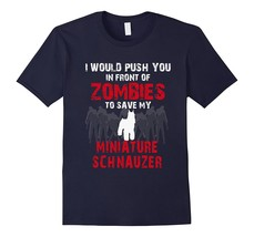 Awesome Shirts - Front Zombies Miniature Schnauzer Funny Dog Lover T-Shi... - $19.95+
