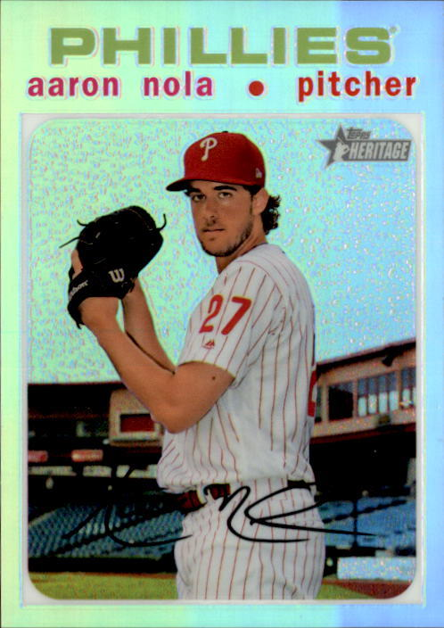 Primary image for Aaron Nola 2020 Topps Heritage Chrome Refractor Card #THC-53 77/571