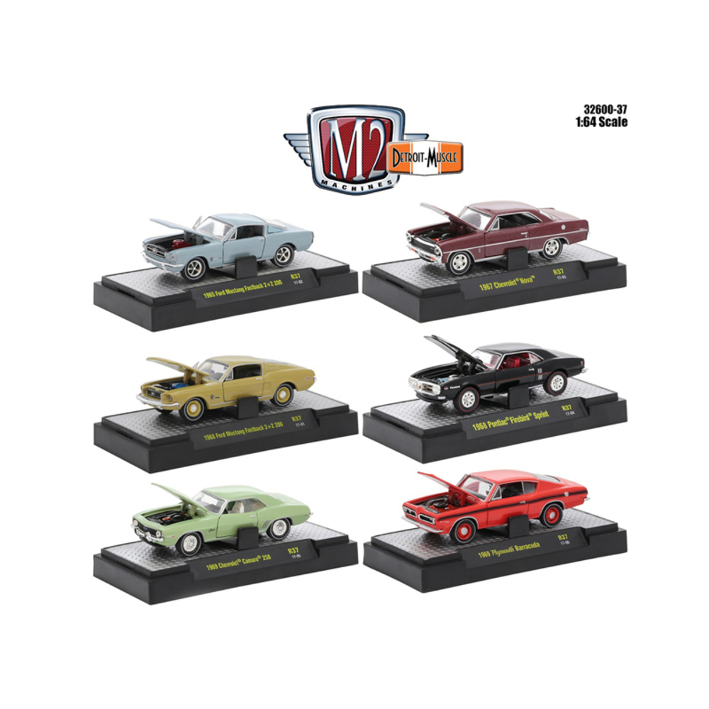 Detroit Muscle 6 Cars Set Release 37 IN DISPLAY CASES 1/64 Diecast Model Cars by