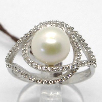 18K WHITE GOLD BAND PEARL ZIRCONIA RING ONDULATE, WAVE, DOUBLE, MADE IN ITALY