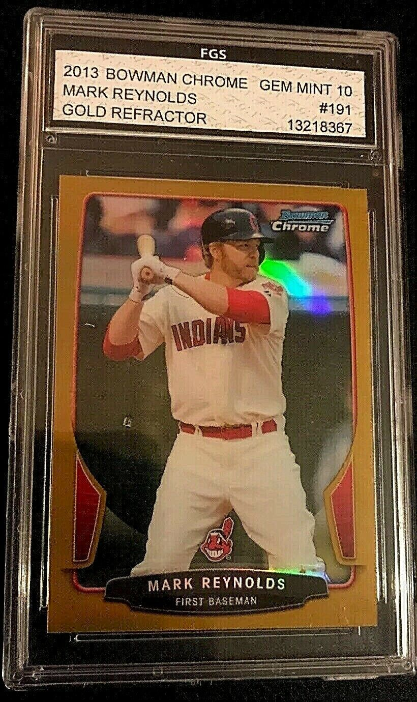 Primary image for 2013 BOWMAN CHROME GOLD REFRACTOR #7/50 MARK REYNOLDS INDIANS FGS Graded 10