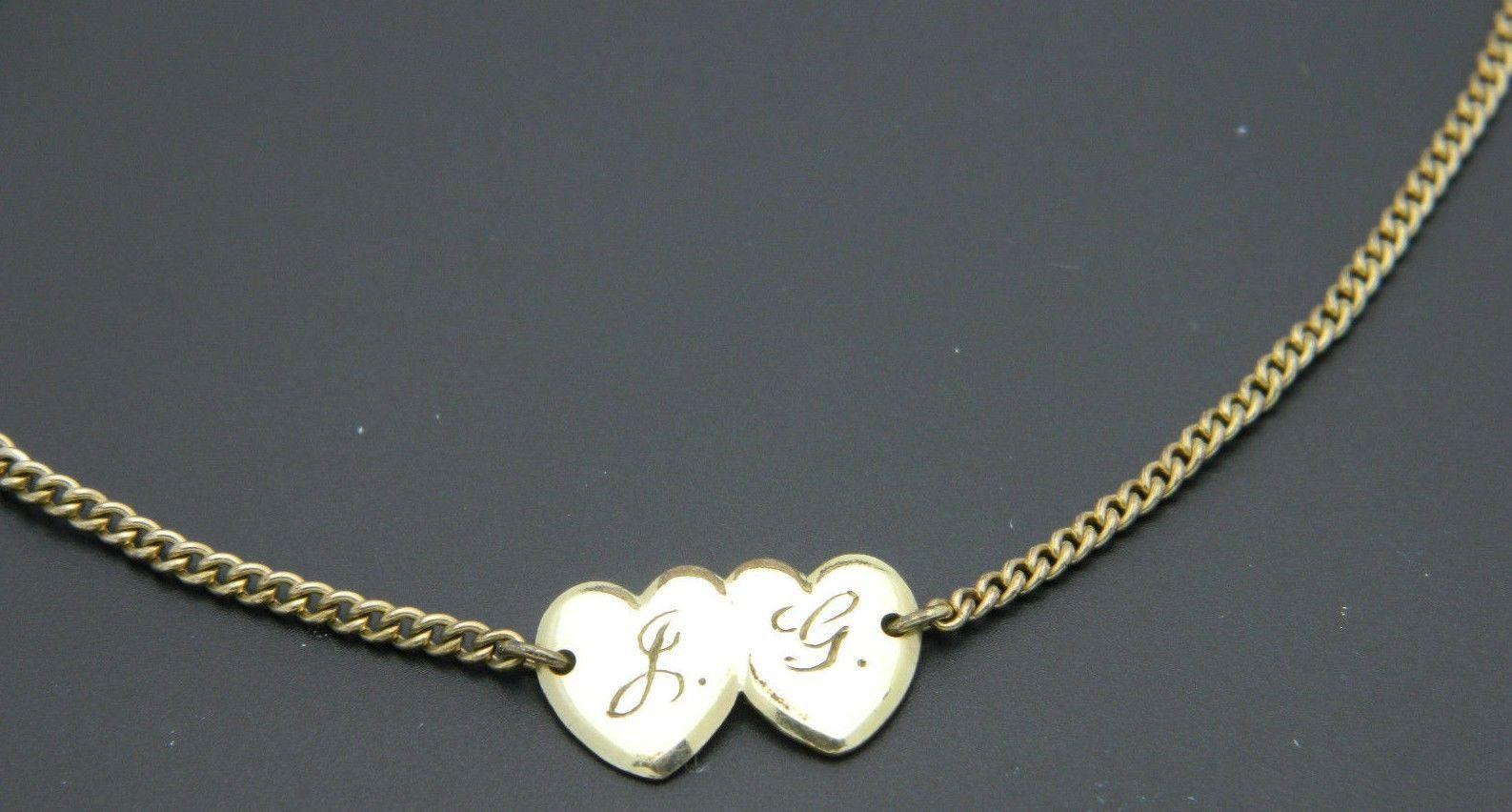 LESTAGE 12k Gold Filled Double Heart L.G. Initial Dainty Bracelet Vintage