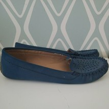 Lucky Brand Blue Slip On Moccasin Flats Casual Shoes Womens Size 9 - $34.39