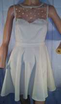Urban Outfitters Coincidence & Chance Ivory Polka Dot Mesh Skater Dress EUC - £10.60 GBP