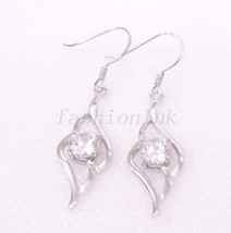 Women Bridal Hook Dangle Earrings 925 Solid Silver Clear CZ Cubic Zircon... - $18.81