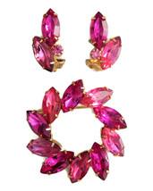 Vintage pink fuchsia pin brooch clip on earrings demi set jewelry - $34.60